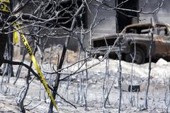Wildfire warning sign total business destroyed 0946 - stock photo