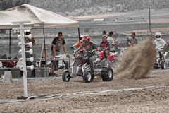 Woman on powerful ATV motorcycle races 2 1291.jpg - stock photo