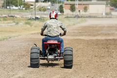 ATV motorcycle at starting light ready to race 1241.jpg Stock Photos