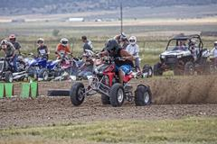 Man drive race ATV rural dirt track 1280.jpg - stock photo