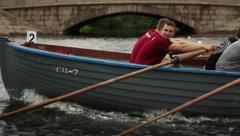 Training in the Men's wooden boats rowing (SLOW) - stock footage