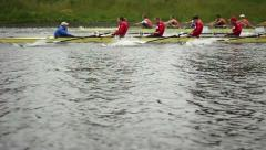 Competition in the Men's eights rowing (SLOW) Stock Footage