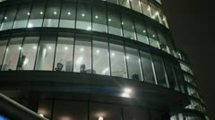 Empty office at night anamorphic flares Stock Footage