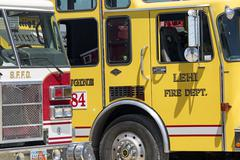 Fire trucks at forest wildfire staging area 0628 - stock photo