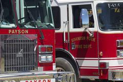 Fire trucks at staging area for forest wildfire 0627 - stock photo