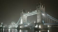 Tower Bridge Anamorphic flares Night Foggy Wide - stock footage