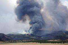 Metsä vuori kulovalkea voimakas liekki savun 0474 Kuvituskuvat