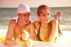 Kiss On The Summer Beach - stock footage