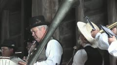 Old Fashion Band Performing in Covered Bridge Stock Footage