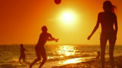 Summer Beach Fun at Sunset Stock Footage
