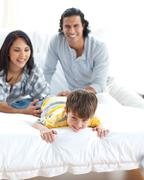 Animated family having fun - stock photo
