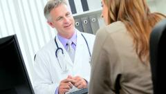 Pharmaceutical Saleswoman Meeting Medical Practice Consultant Stock Footage