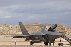 USAF F22 Raptor jet fighter on ground 9206.jpg Stock Photos