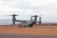 Marine V22 Osprey VTOL aircraft crew runway 9324.jpg - stock photo