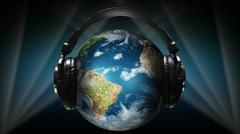 Kuulokkeet ja korva-osan ympärille Globe Piirros