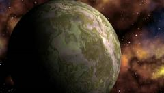 Major planet against bright nebula - stock footage