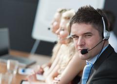 Business team in a call center Stock Photos