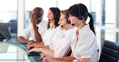 Business employees in a call center Stock Photos