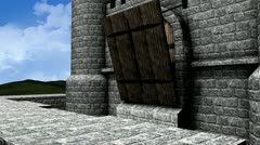 Castle drawbridge, side view, mediavel, structures, bridge. Stock Footage