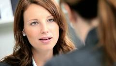 Businesswoman Meeting Bank Executive Stock Footage