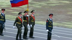 Russian soldiers with historical vintage wwii uniform - stock footage