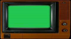 Vintage TV Set with Green Screen - stock footage
