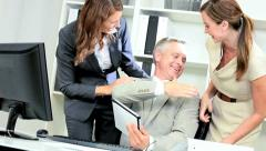 Investment Consultant Receiving Colleagues Congratulations Stock Footage