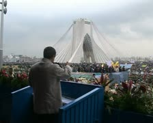iran 8,  Iranian President Ahmadinejad on the tribune during the celebration 30t - stock footage