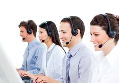 Self-assured customer service representatives team Stock Photos