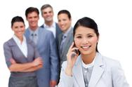 Happy business team working together Stock Photos