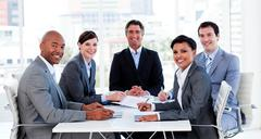 Business group showing diversity in a meeting - stock photo