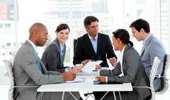 Business people disscussing a budget plan - stock photo