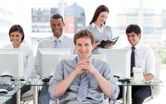 Presentation of ambitious business team at work Stock Photos