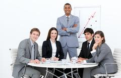Self-assured man doing a presentation - stock photo