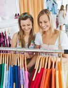 animated female friends doing shopping - stock photo