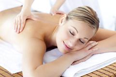Stock Photo of relaxed caucasian woman receiving a health treatment