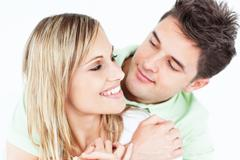 young attractive people looking each other - stock photo