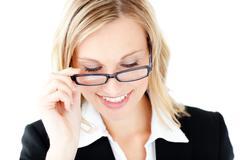 Confident businesswoman wearing glasses Stock Photos