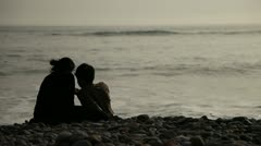 Lovers At Beach With Ocean Stock Footage