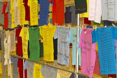 Clothesline Project shirts display Stock Photos