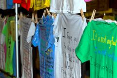 Clothesline Project t shirts abuse - stock photo