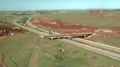 Aerial of road  and bridge construction in Africa Stock Footage