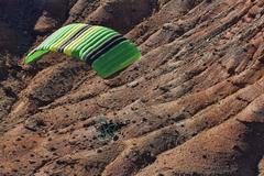 Ultralight flight over desert mountains recreation Stock Photos