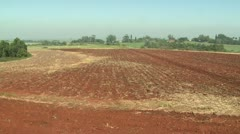 Wide of field that has been ploughed. - stock footage