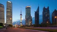 HD: traffic in Shanghai Pudong at dusk, timelapse - stock footage
