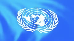 United Nations Flag - close Stock Footage