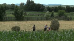 Working Farmer Familly Europe - Full HD Stock Footage