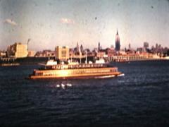 New York View of Manhattan from Liberty Statue V2 - Vintage 16mm Film Stock Footage