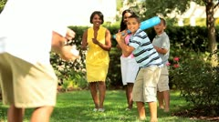 Ethnic mother and father playing baseball with children   Stock Footage