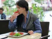 Stock Video Footage of Happy beautiful businesswoman eating lunch in the city NTSC